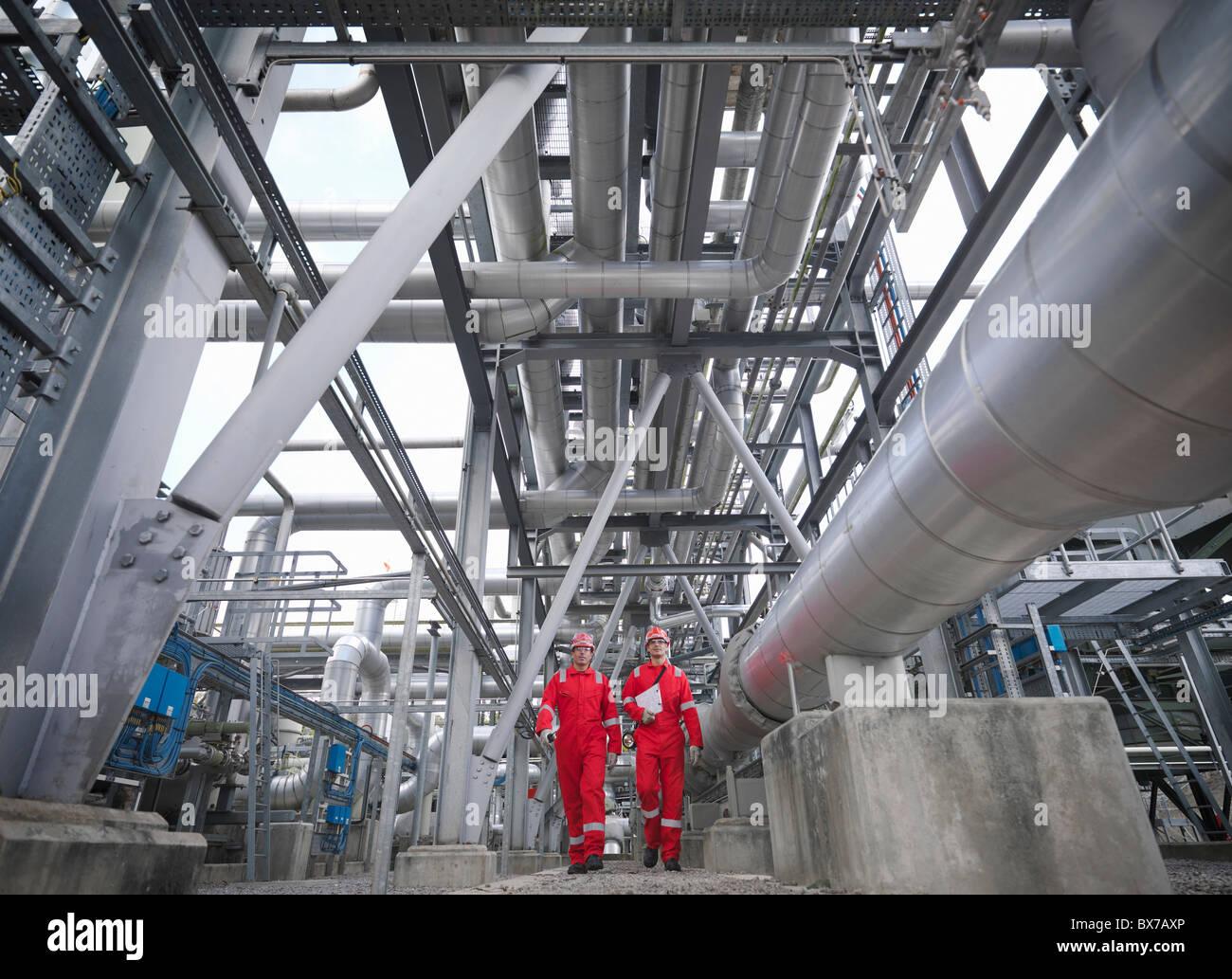 Workers in underground gas storage plant - Stock Image