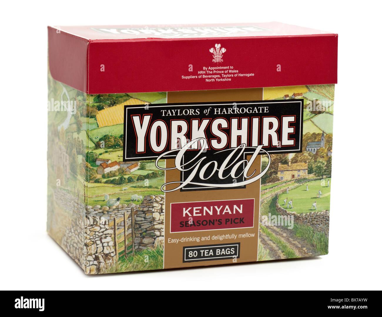 Box of 80 Kenyan Yorkshire gold tea bags - Stock Image