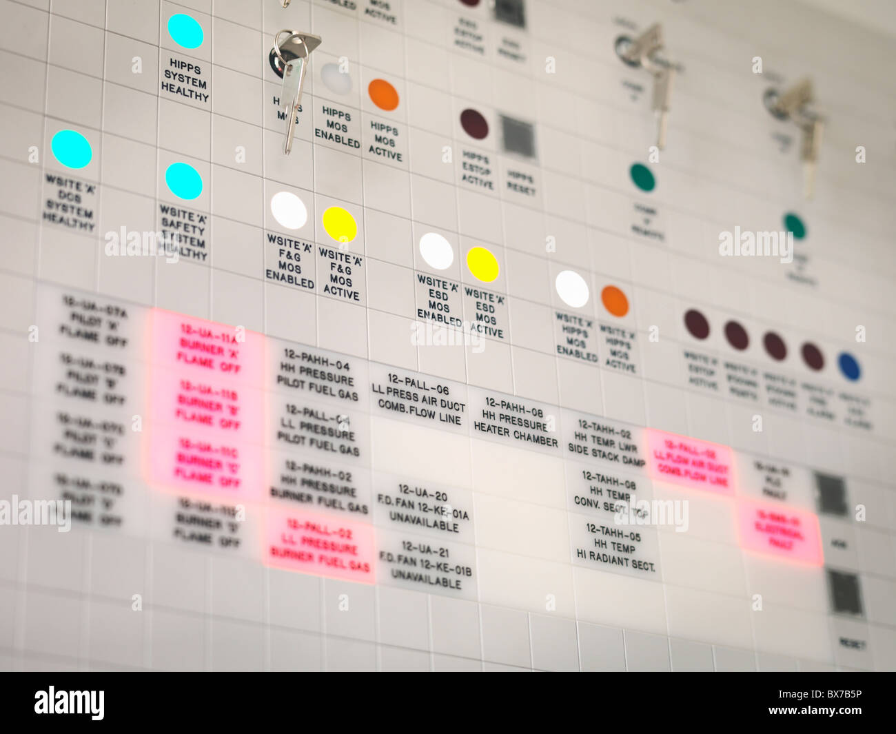 Control panel at underground gas plant - Stock Image