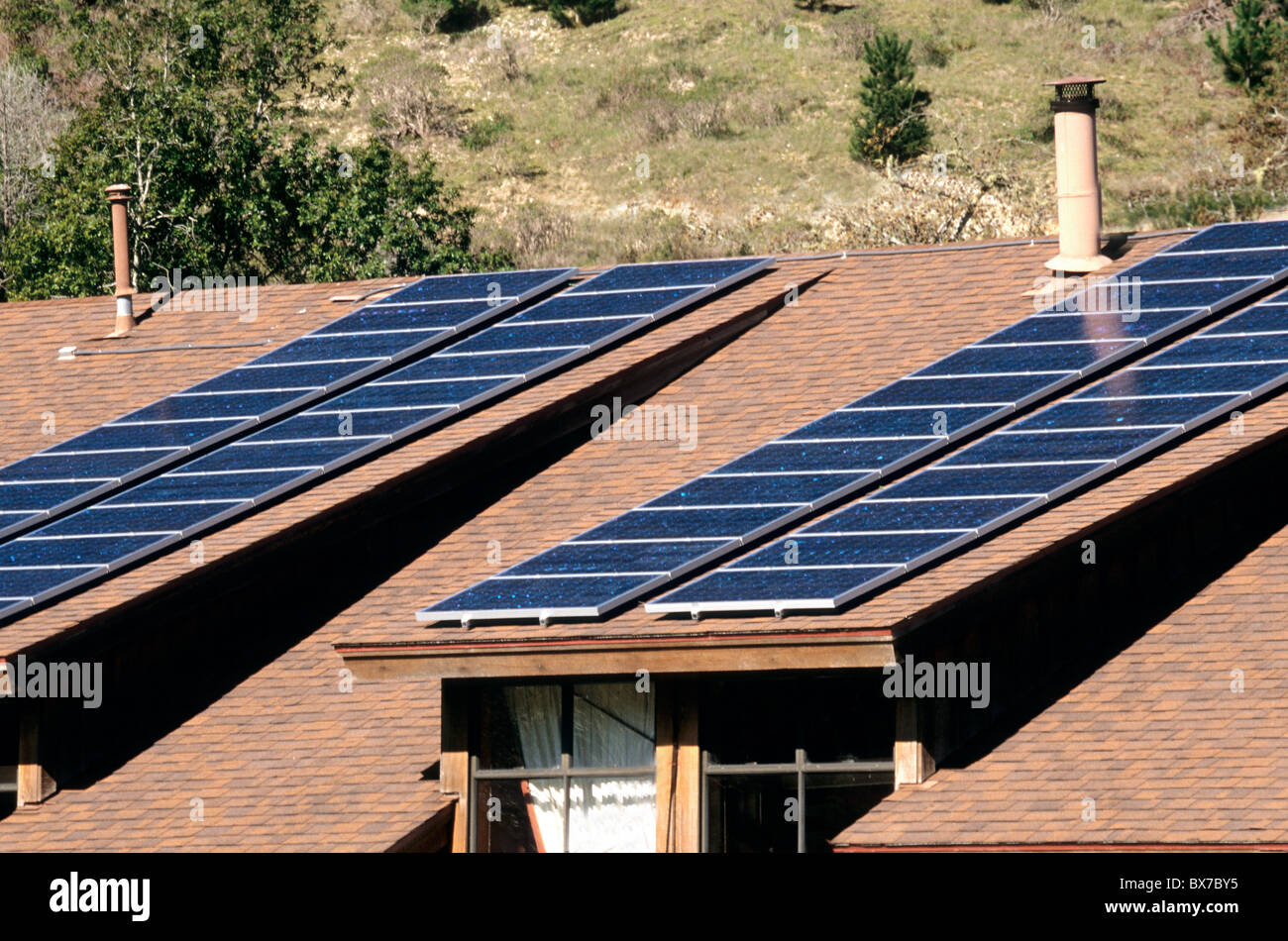 Solar Electric Panels on roof, - Stock Image