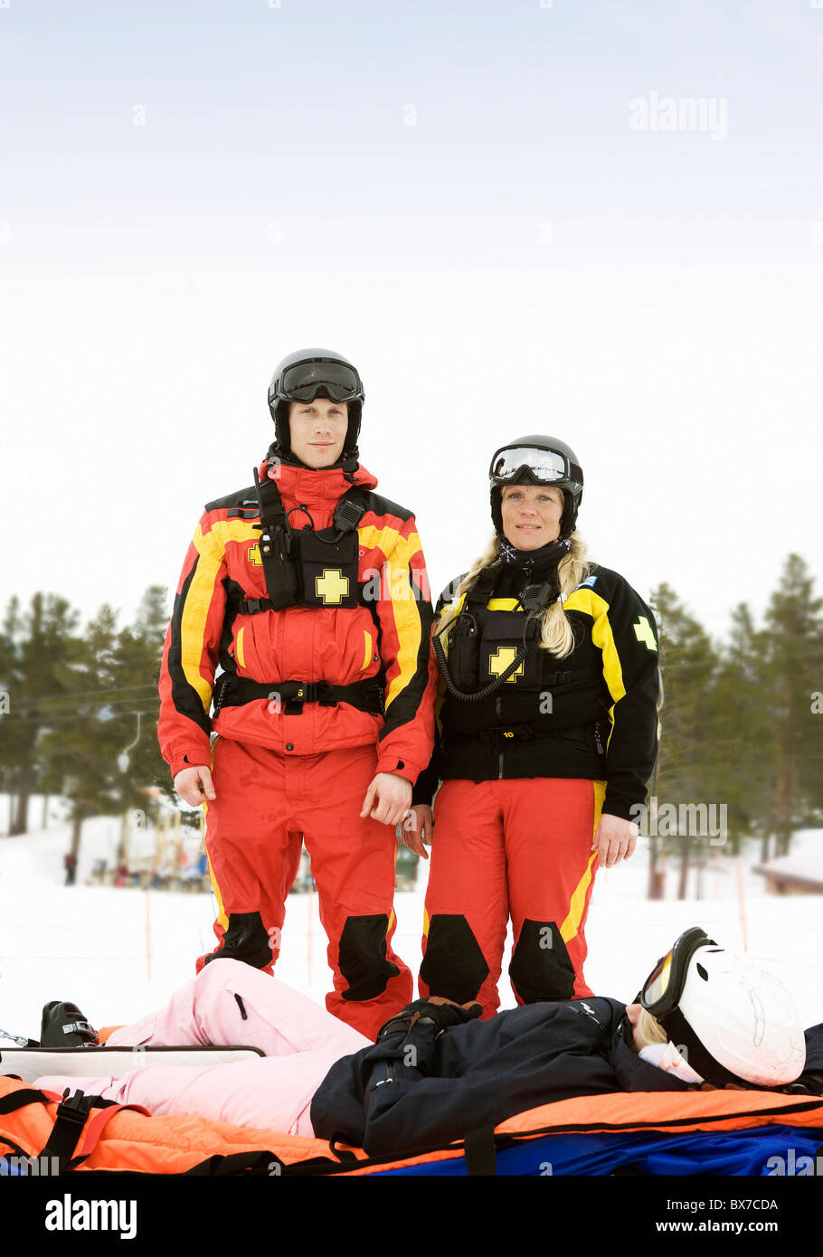 Rescue Team with Skier - Stock Image