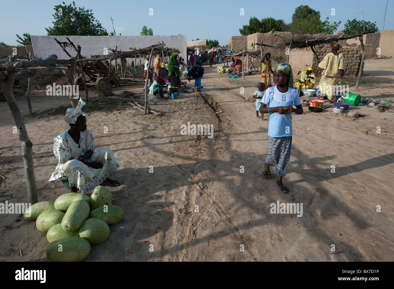 Village life and small market stalls in a village in Mali