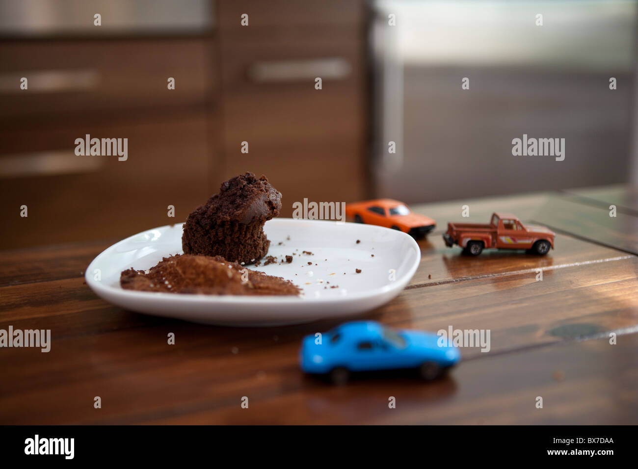 Muffin on a plate - Stock Image