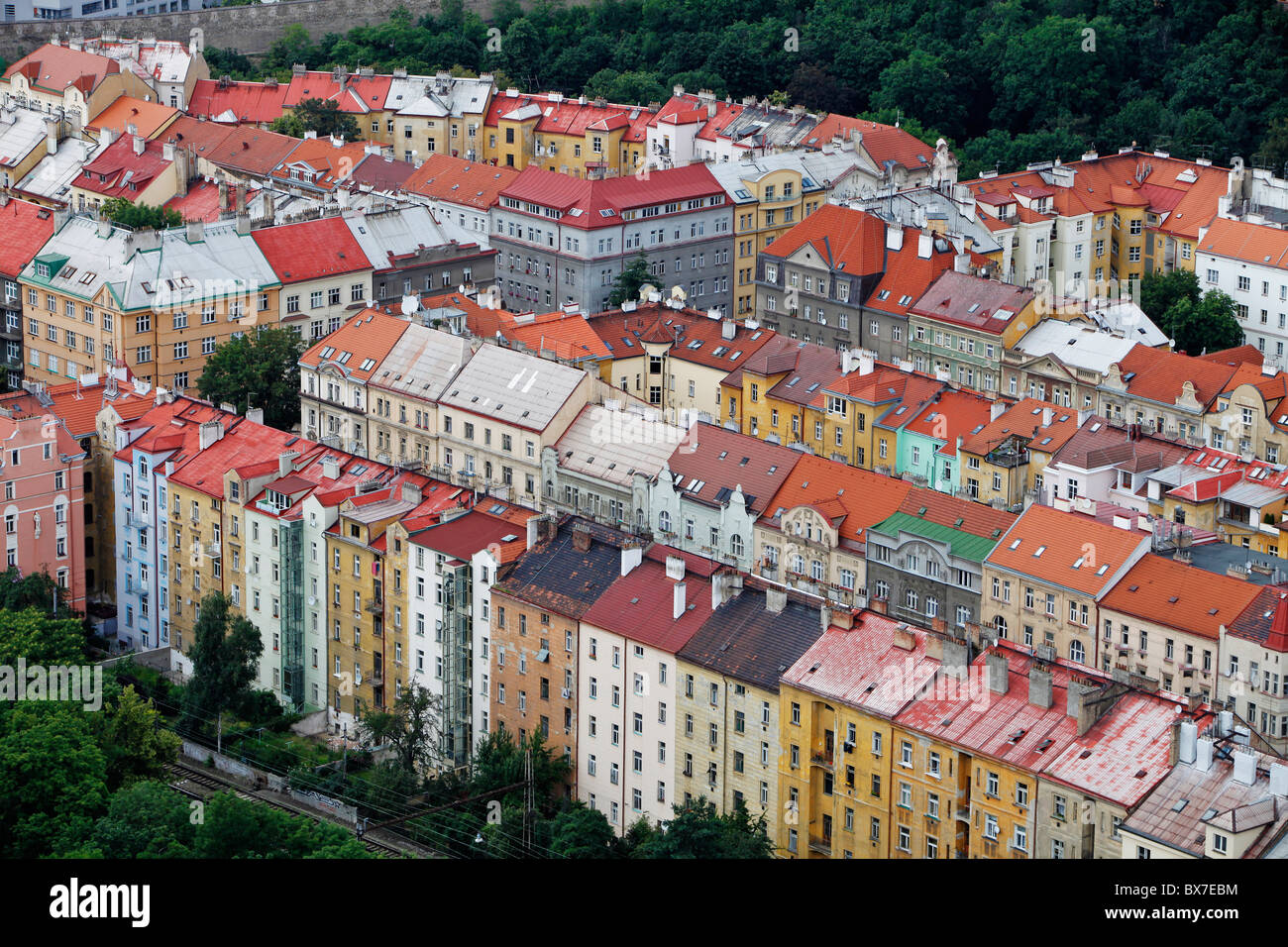 Prague - Nusle. Apartment houses roofs photographed from hotel Corinthia Towers. (CTK Photo/Martin Sterba) - Stock Image