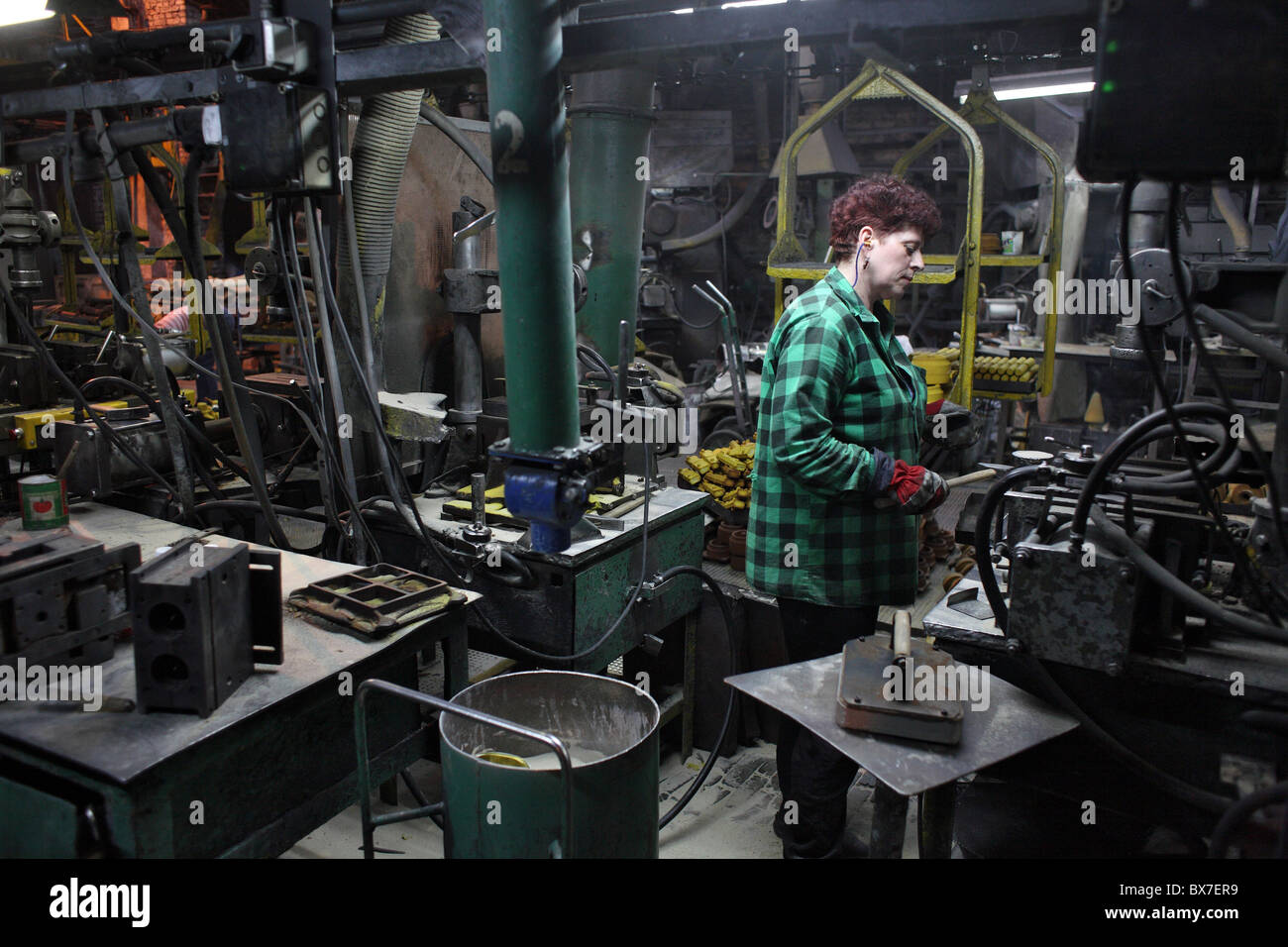 Core-making shop for agricultural machinery, Poznan, Poland - Stock Image