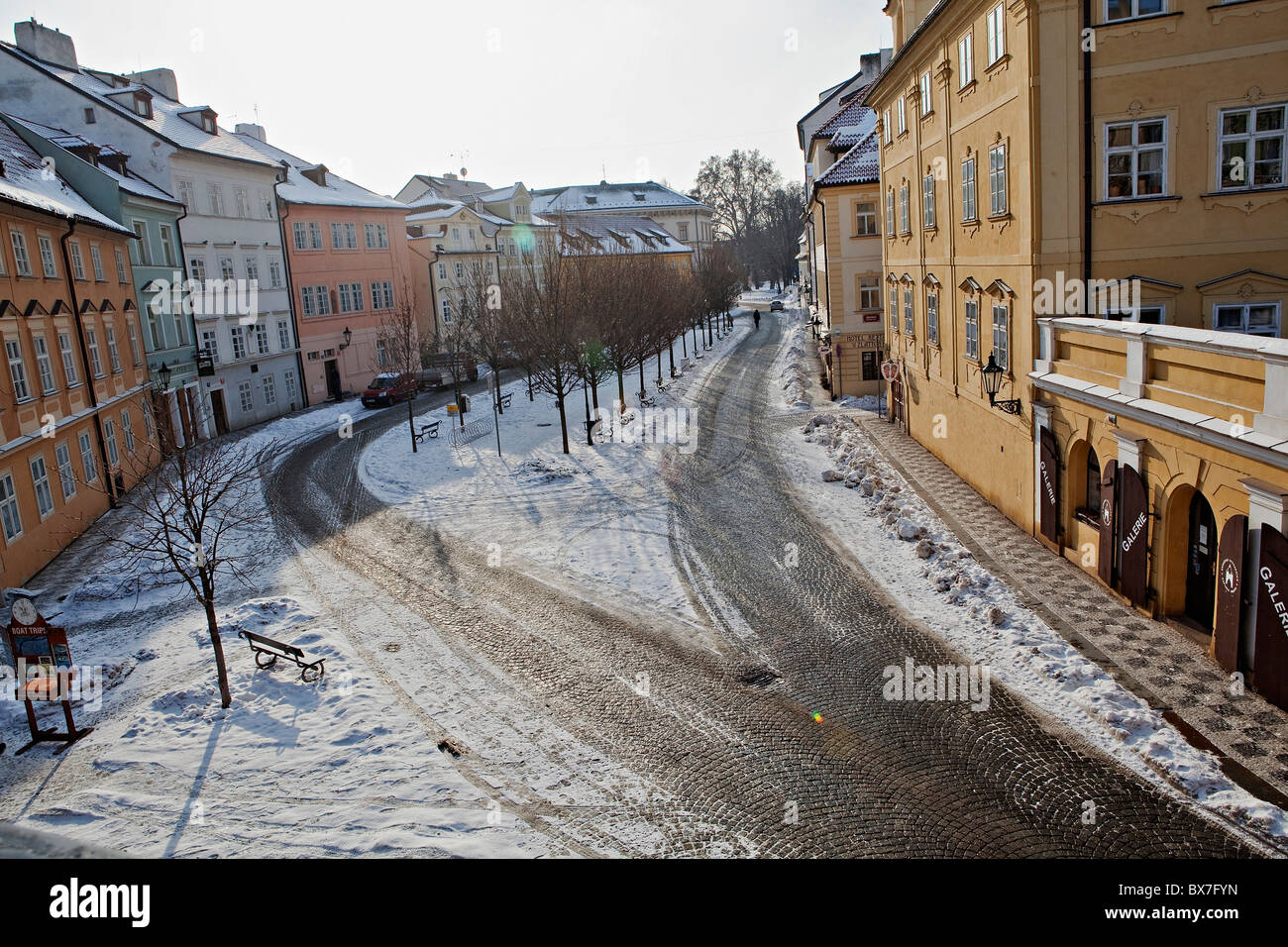 Prague - snow covered Kampa street photographed from Charles Bridge. - Stock Image