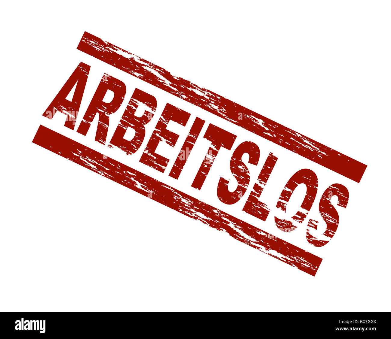 Stylized red stamp showing the german term arbeitslos. english: unemployed. All on white background. - Stock Image