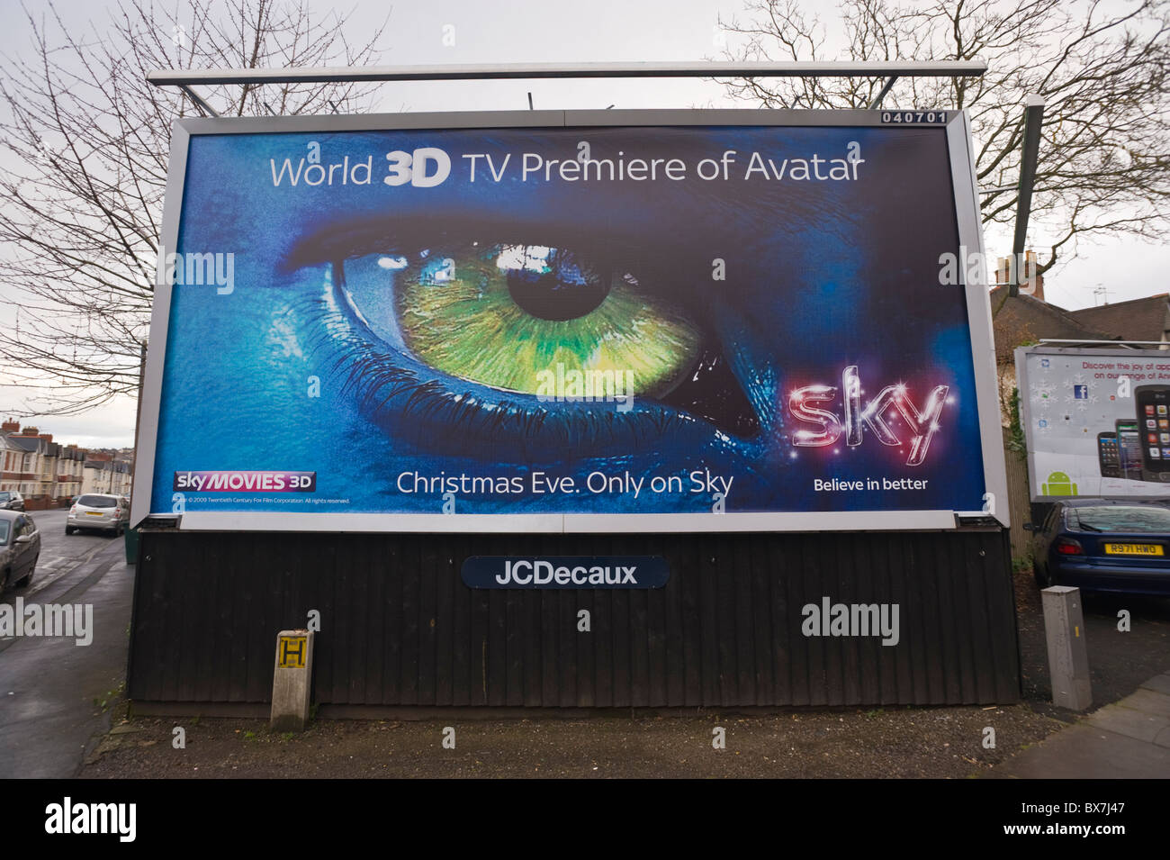 JCDecaux billboard site featuring advertising poster for SKY Movies