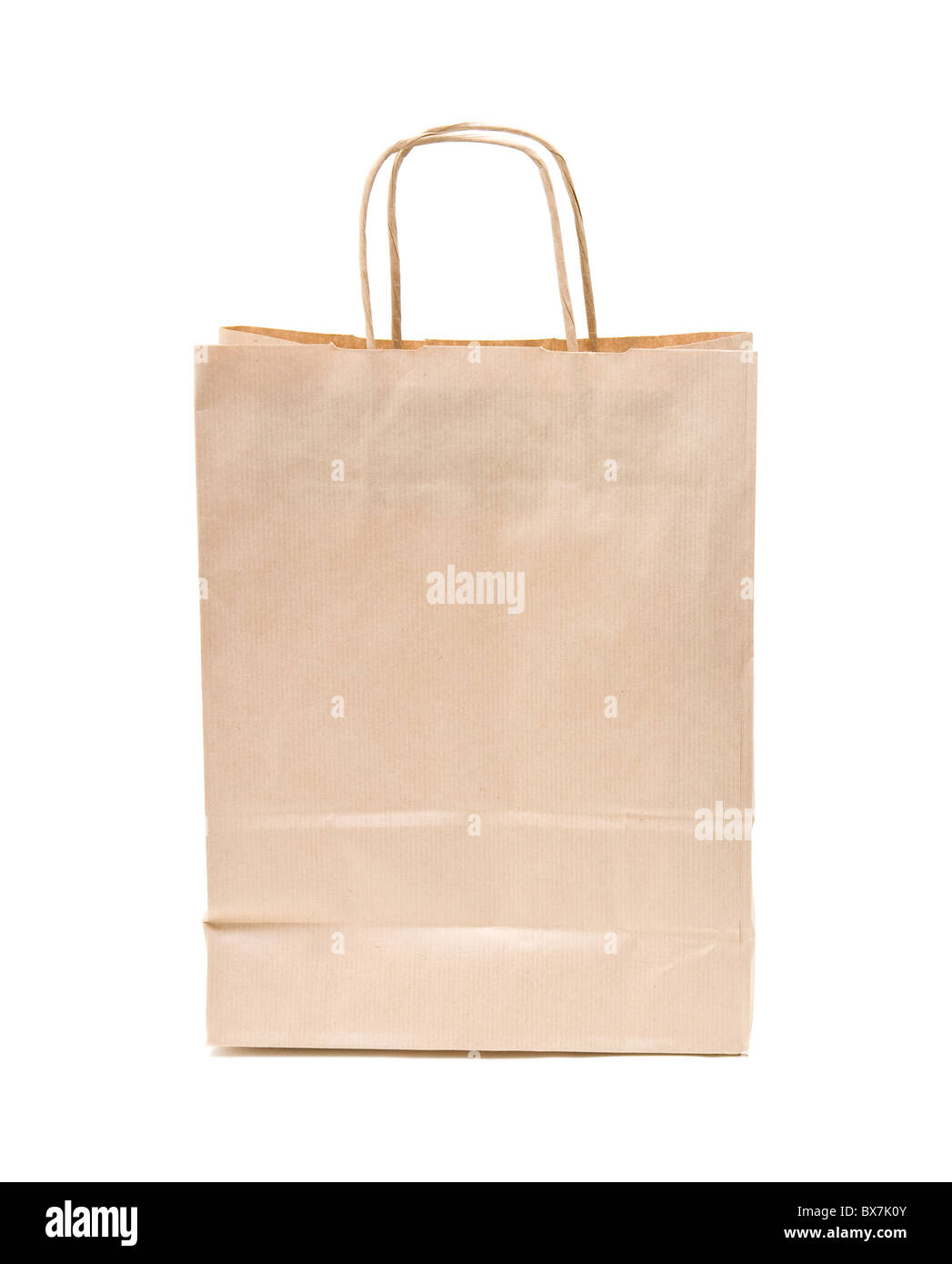 recyclable; reusable brown paper shopping carrier bag - Stock Image