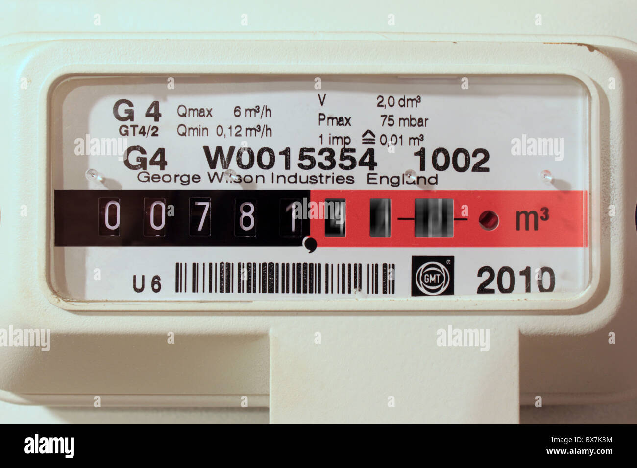 Gas meter with motion blur on digits to imply high consumption - Stock Image