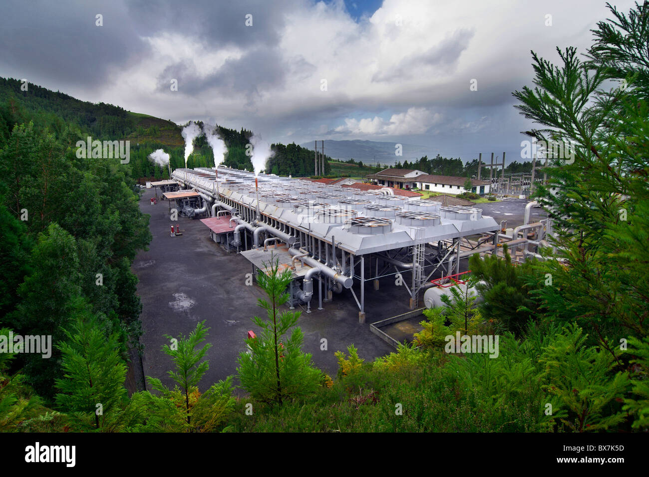 Taken in a geothermal installation in the Azores used to generate energy / electricity - Stock Image