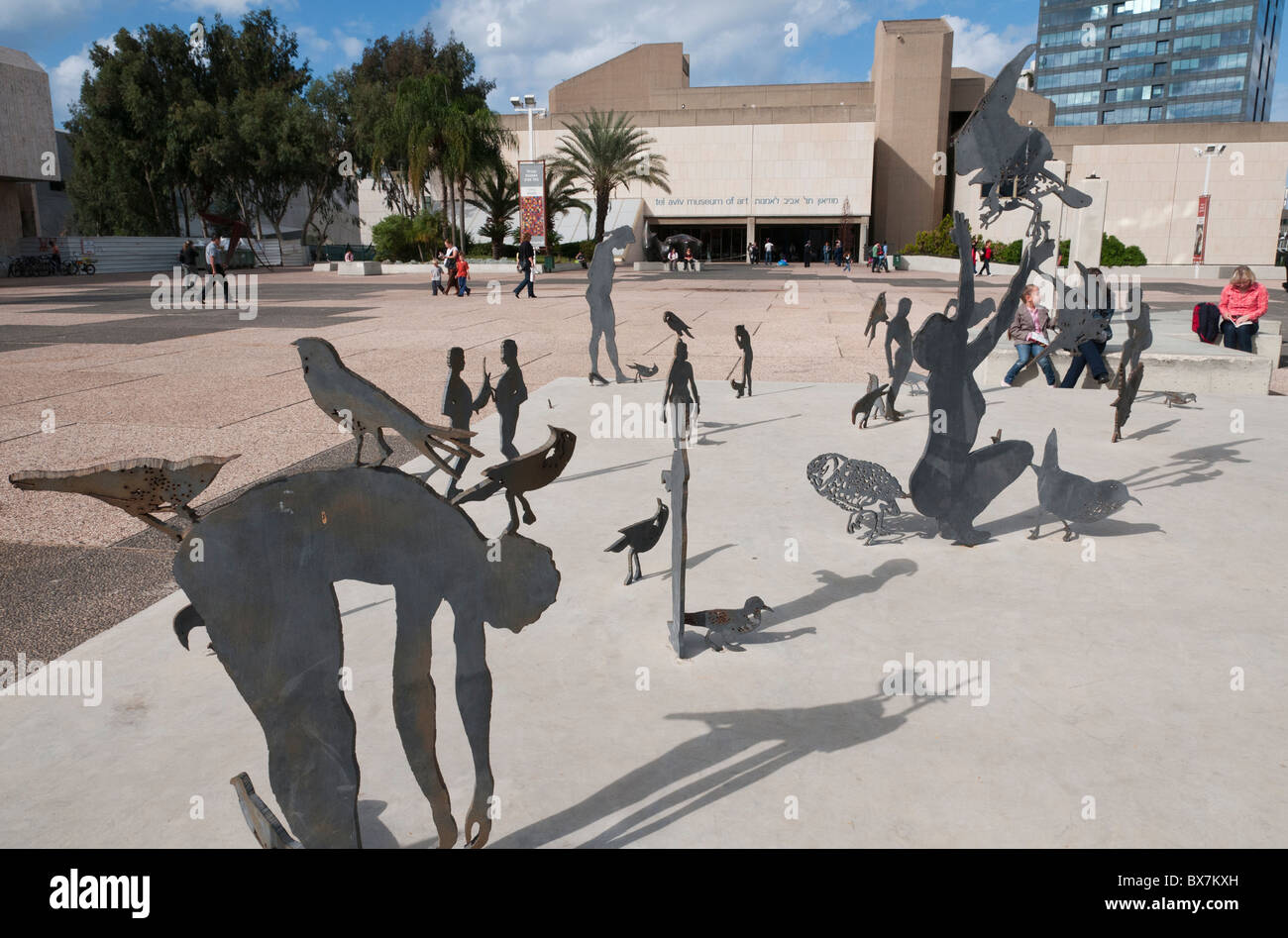urban sculpture in front of the Tel Aviv museum. Israel - Stock Image