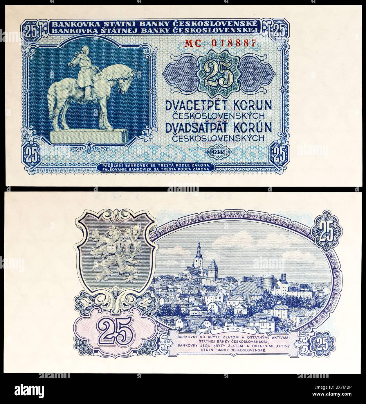 Czechoslovakian 25 Korun / Crown banknote from 1953 - Stock Image