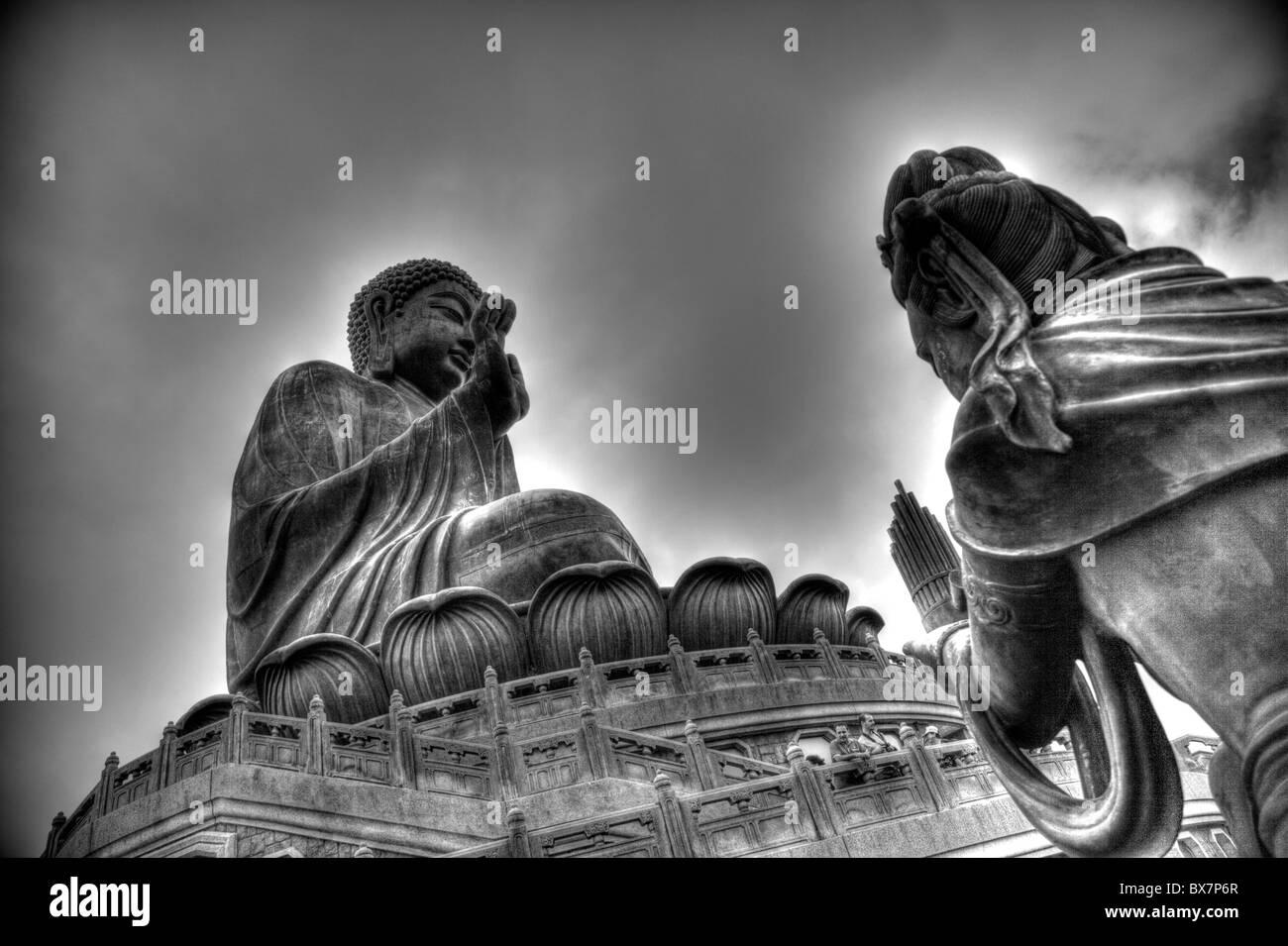 Hong Kong, Lantau island seated bronze statue Buddha, Lantau Buddha, Lantau Big Buddah, Lantau island, Lantau bronze - Stock Image