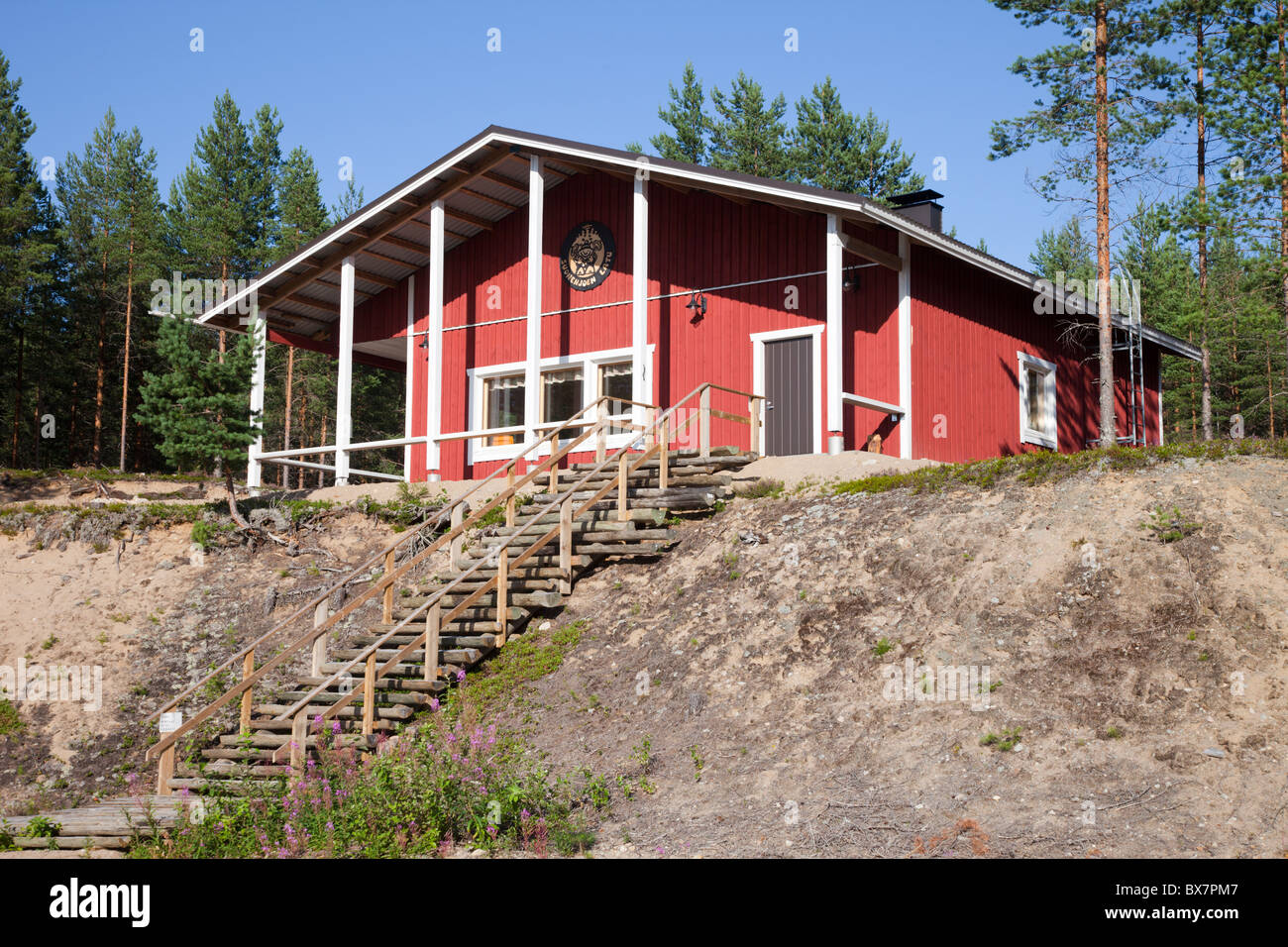Onkilampi ski lodge at summertime At wintertime it serves skiers , Finland - Stock Image