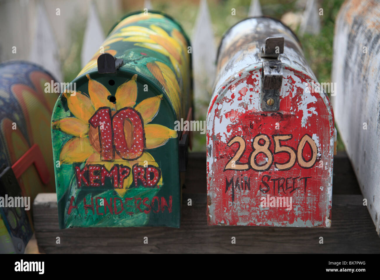 Mailboxes, Madrid, former mining town in the Ortiz Mountains inhabited by artists and bikers, Turquoise Trail, New Stock Photo