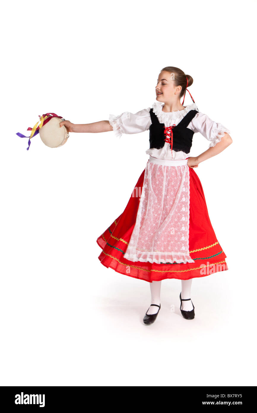 Studio Shot Of Young Girl In Colourful Italian National Folk