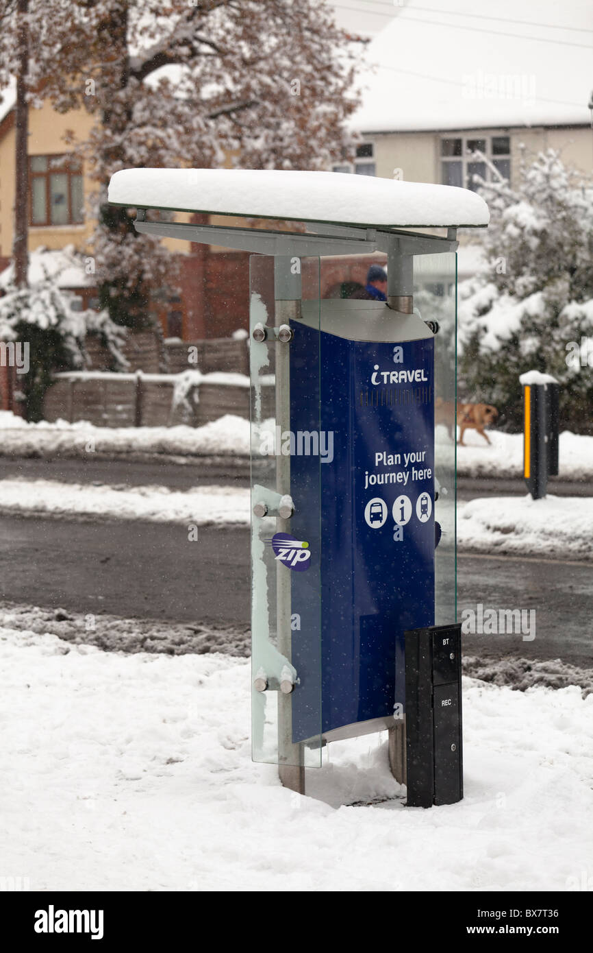 travel information point in the snow - Stock Image