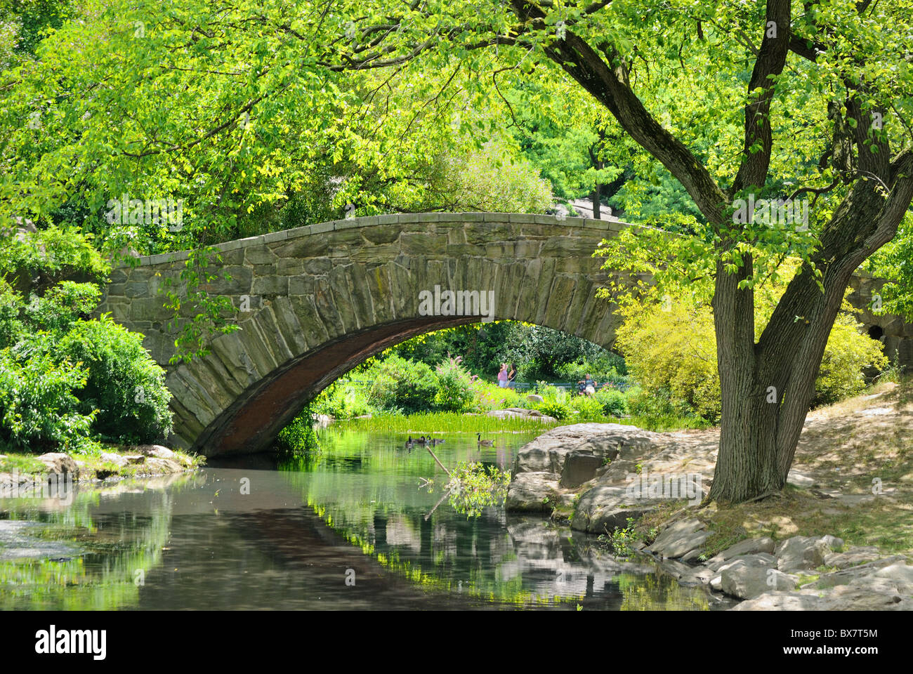 Gapstow Bridge over The Pond at Central Park in New York City - Stock Image