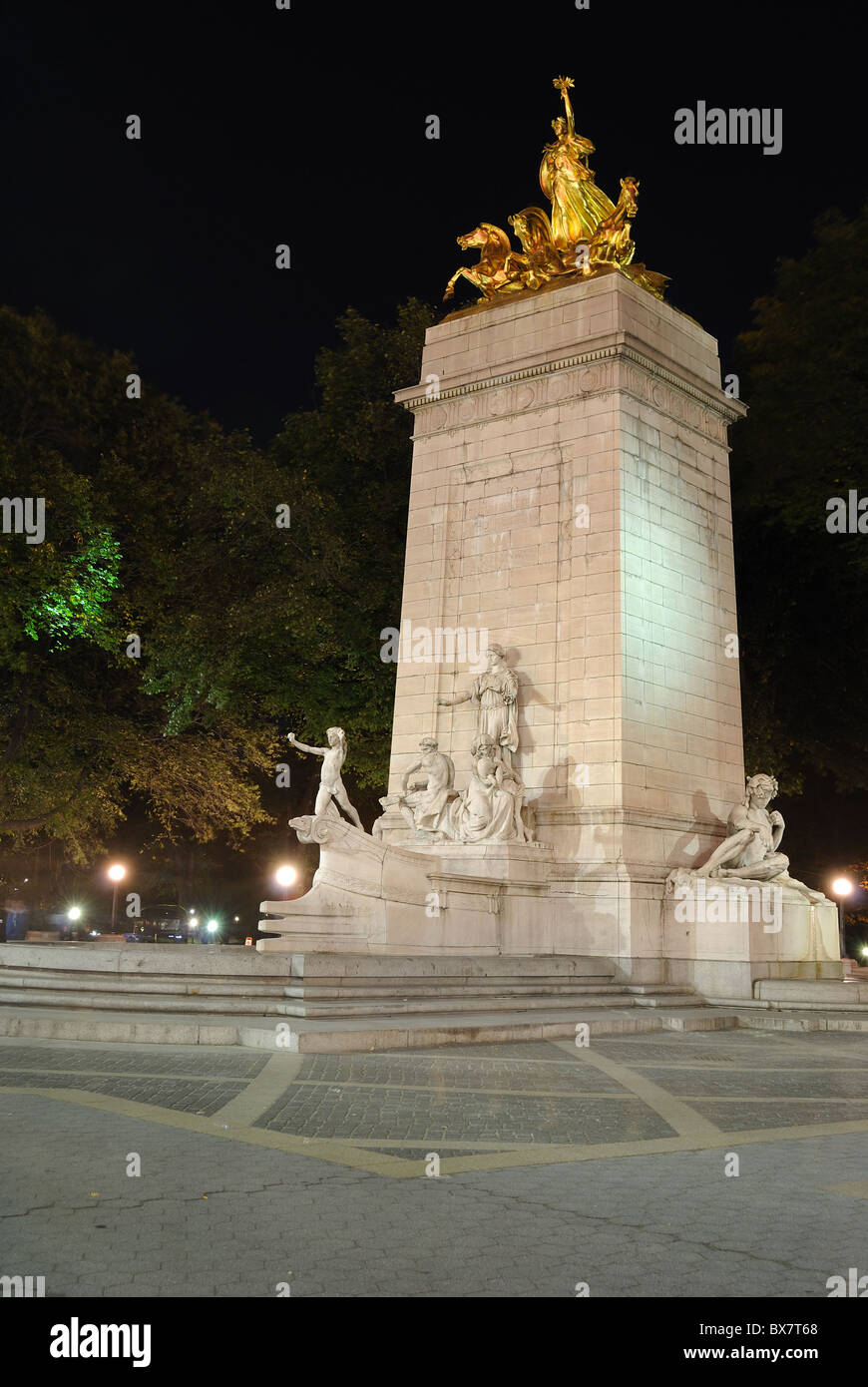 The USS Maine Monument at the southwest corner of Central Park in New York City. Stock Photo