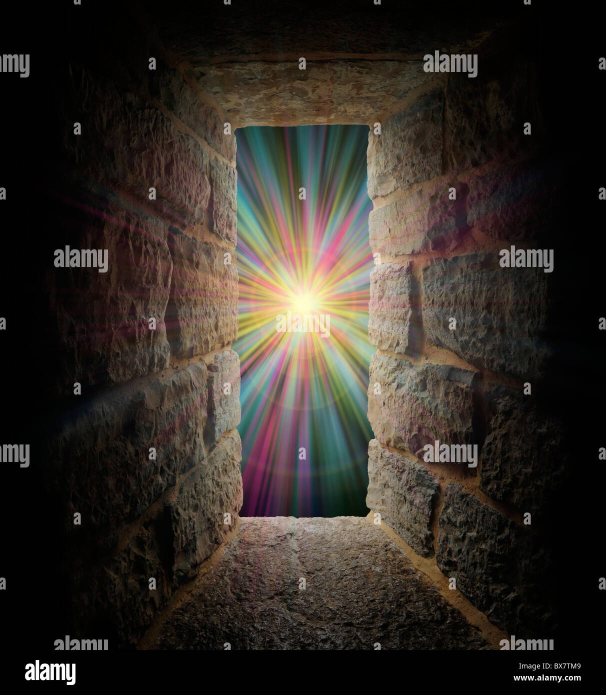 Mystical stone window, entrance or portal to a pastel vortex - Stock Image