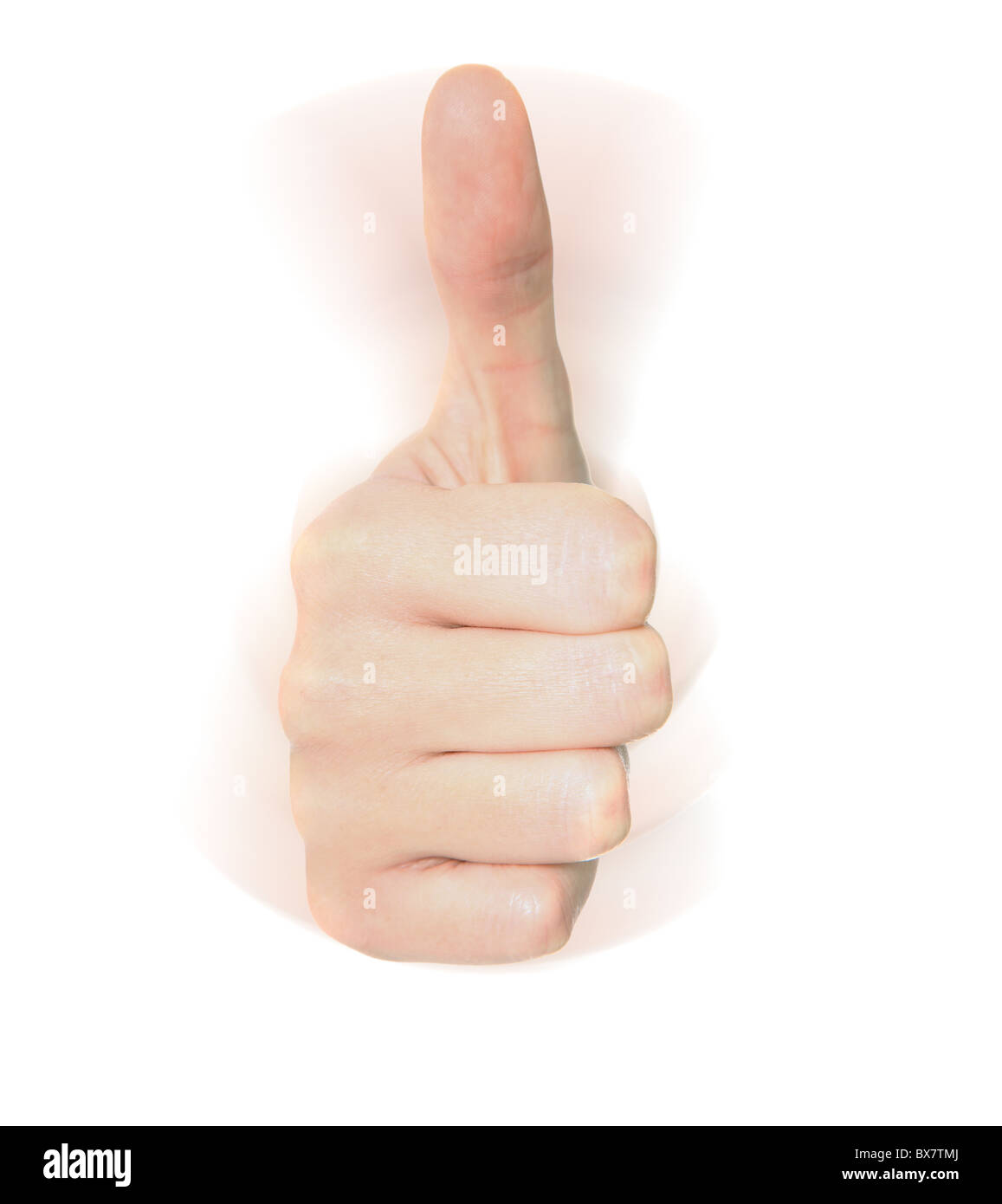 Caucasian hand making thumbs up sign. All on white background. - Stock Image