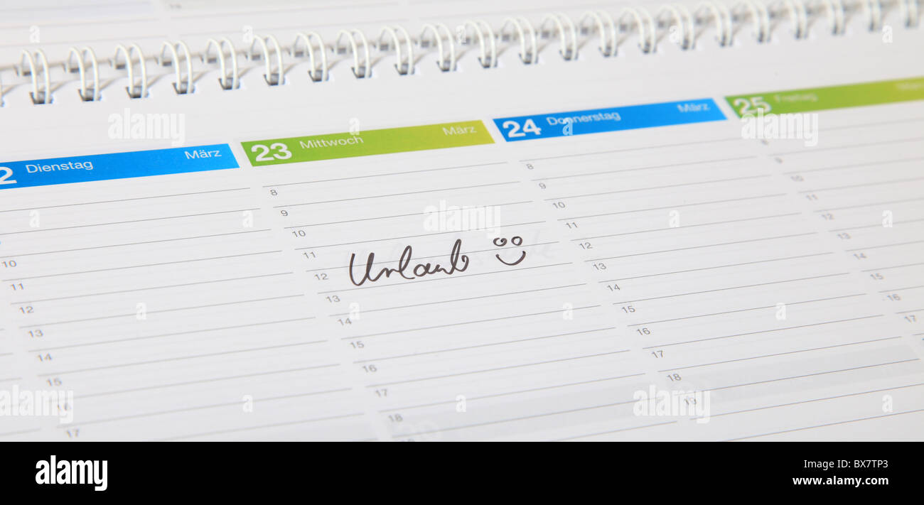A standard schedule. The german term Urlaub is marked. (english: vacation) - Stock Image