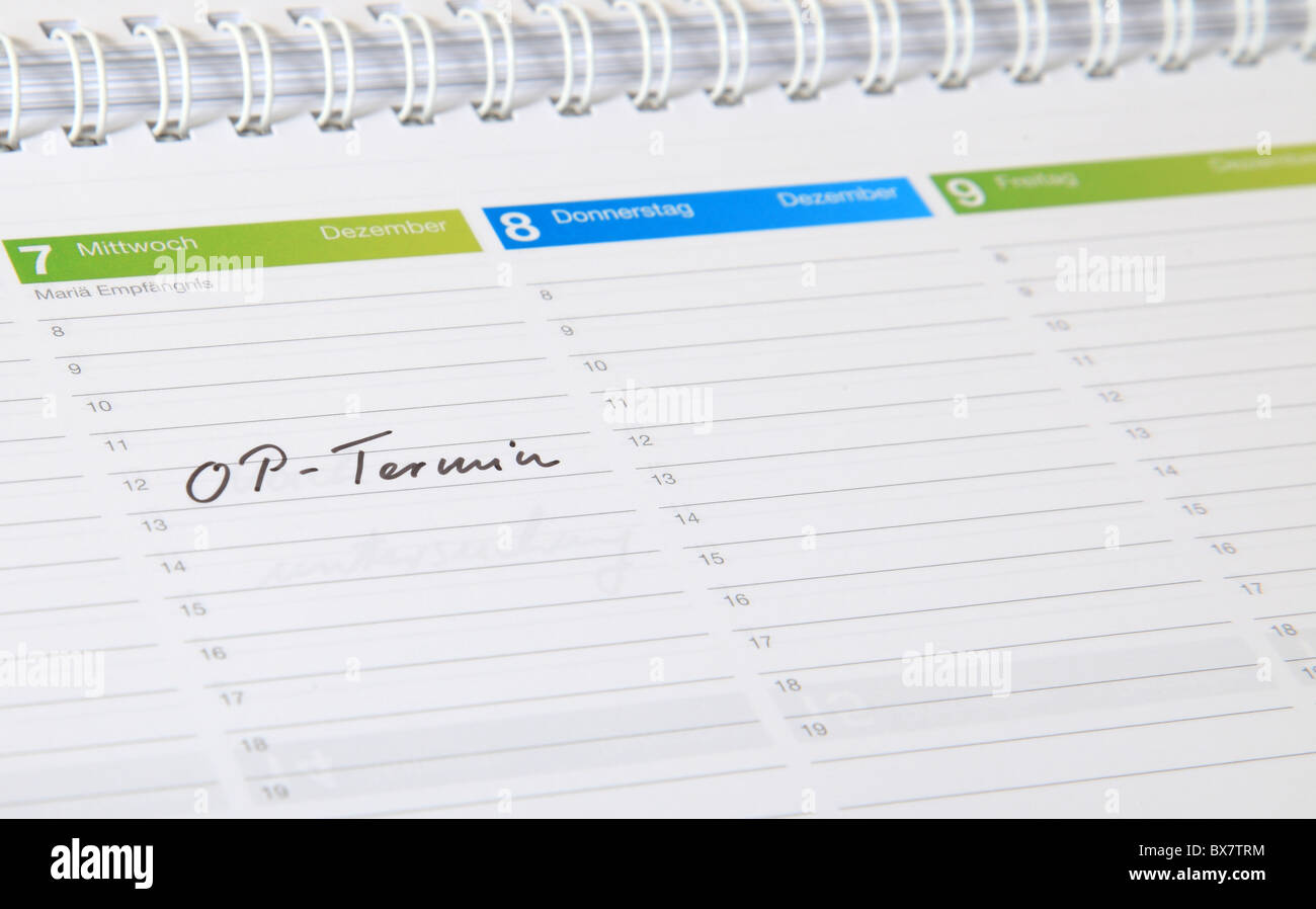 A standard schedule. The german term OP-Termin is marked. (english: surgery date) - Stock Image