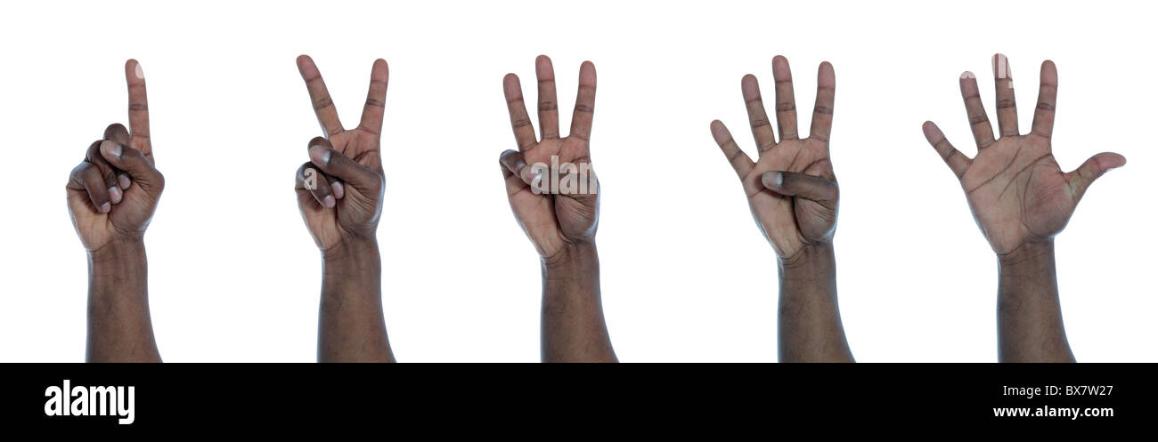 A dark-skinned hand counting from one to five. All on white background. - Stock Image