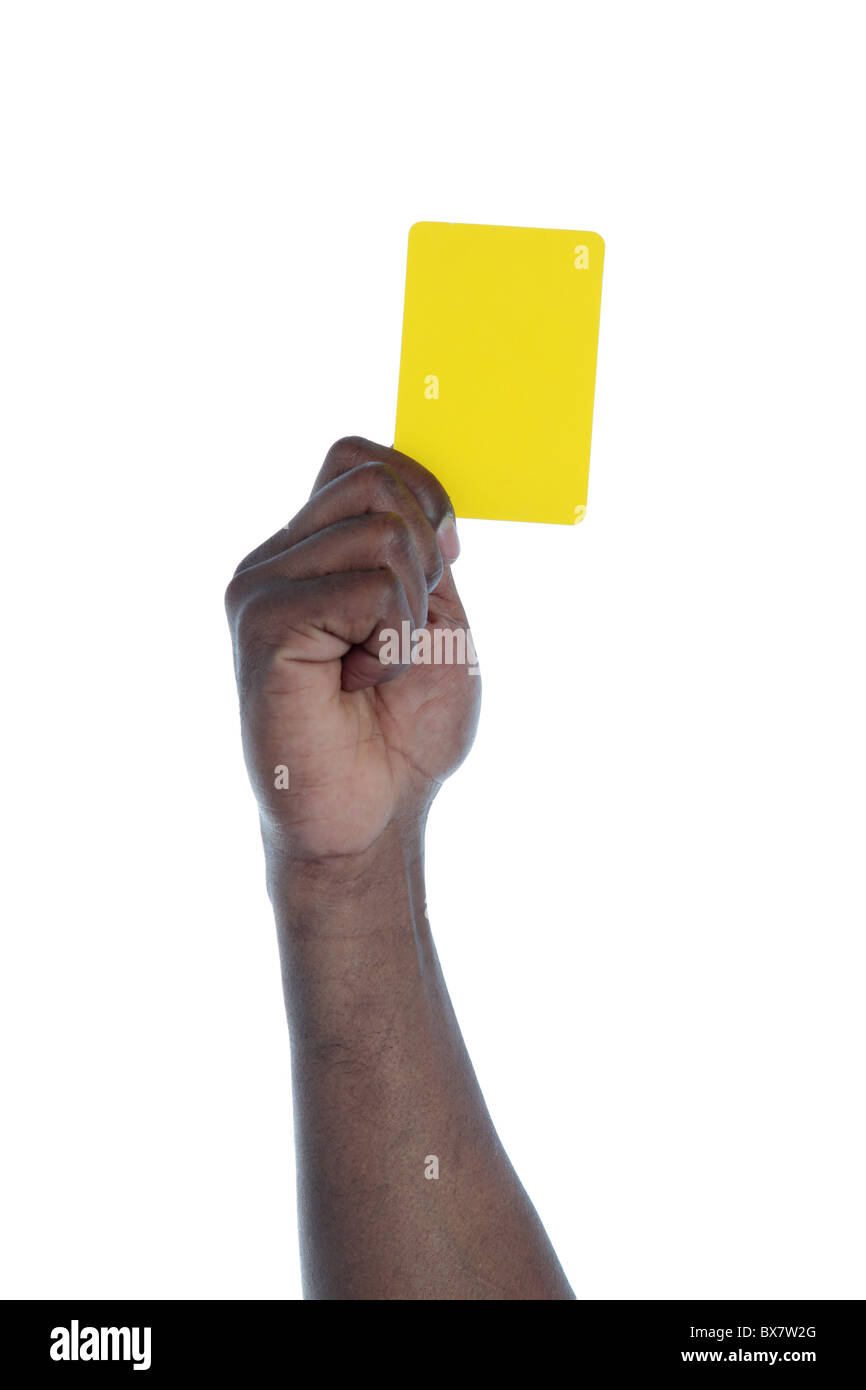 A dark-skinned human hand holding a yellow card as a symbol for anti-racism. All on white background. - Stock Image