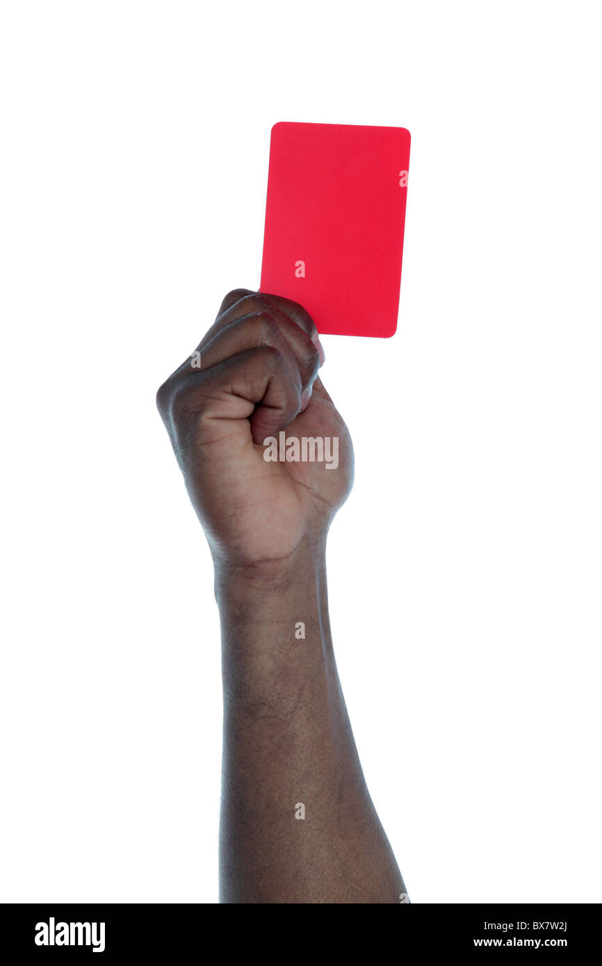A dark-skinned human hand holding a red card as a symbol for anti-racism. All on white background. - Stock Image