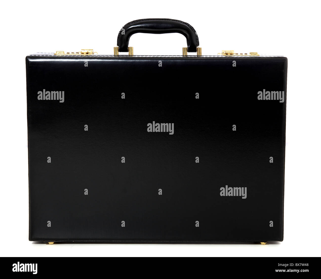 Standard black briefcase. All on white background. - Stock Image