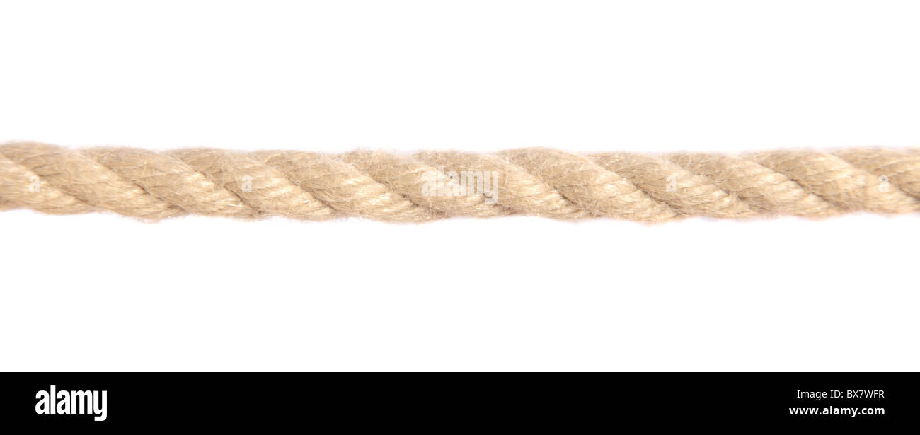Standard hemp rope. All isolated on white background. - Stock Image