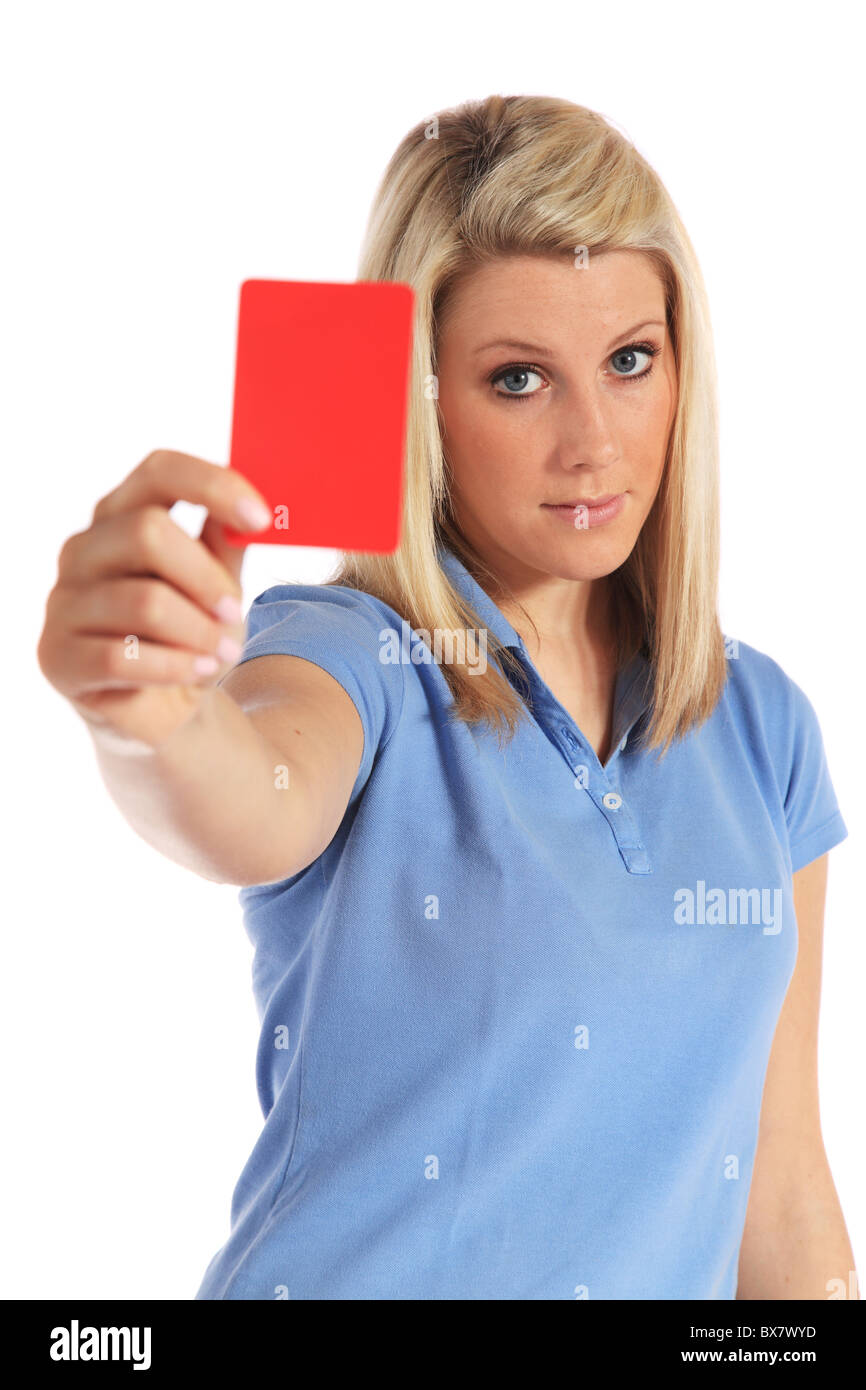 Attractive young woman showing a red card. All on white background. - Stock Image