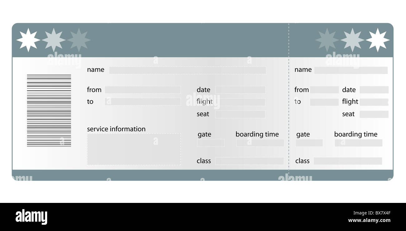 Stylized Boarding Pass All On White Background Stock Photo