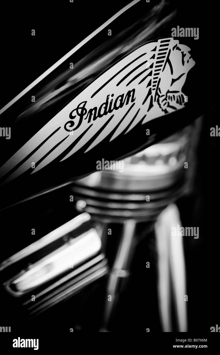 Indian chief motorcycle abstract focusing on the petrol tank emblem design. Classic American motorcycle. Black and - Stock Image