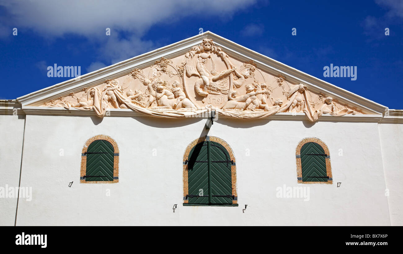 The wine cellar at Groot Constantia, the finest surviving example of Cape Dutch architecture. - Stock Image