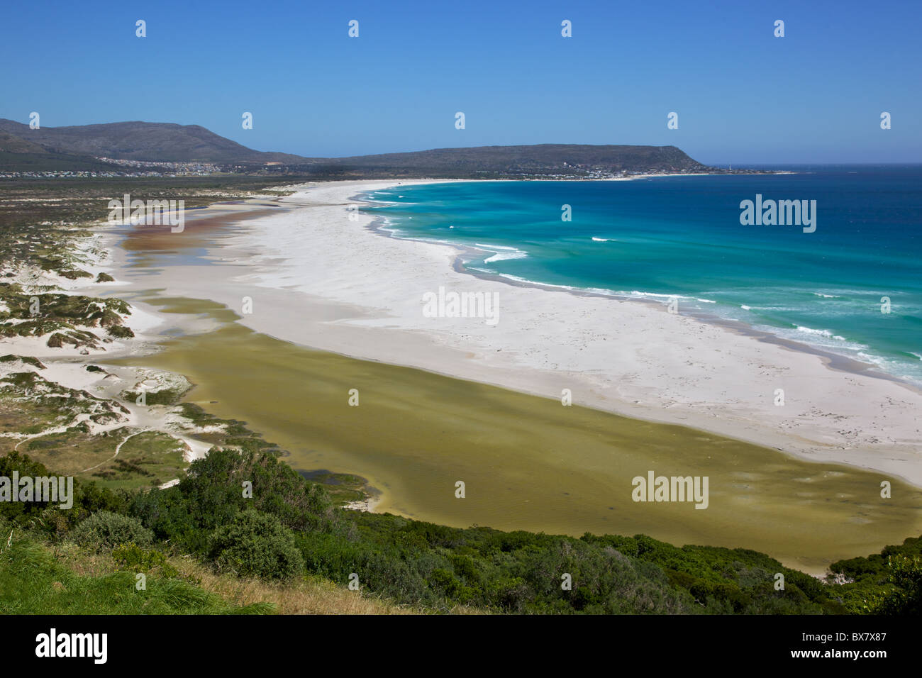 The expanse of Long Beach, with Kommetjie in the background, Cape Peninsula, South Africa. Stock Photo