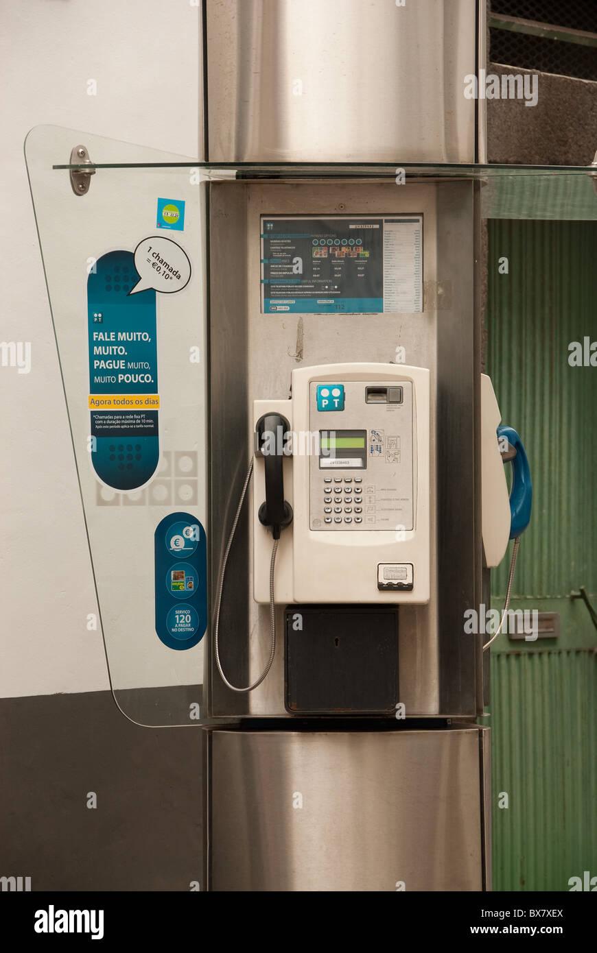 Telephone Kiosk in Madeira - Stock Image