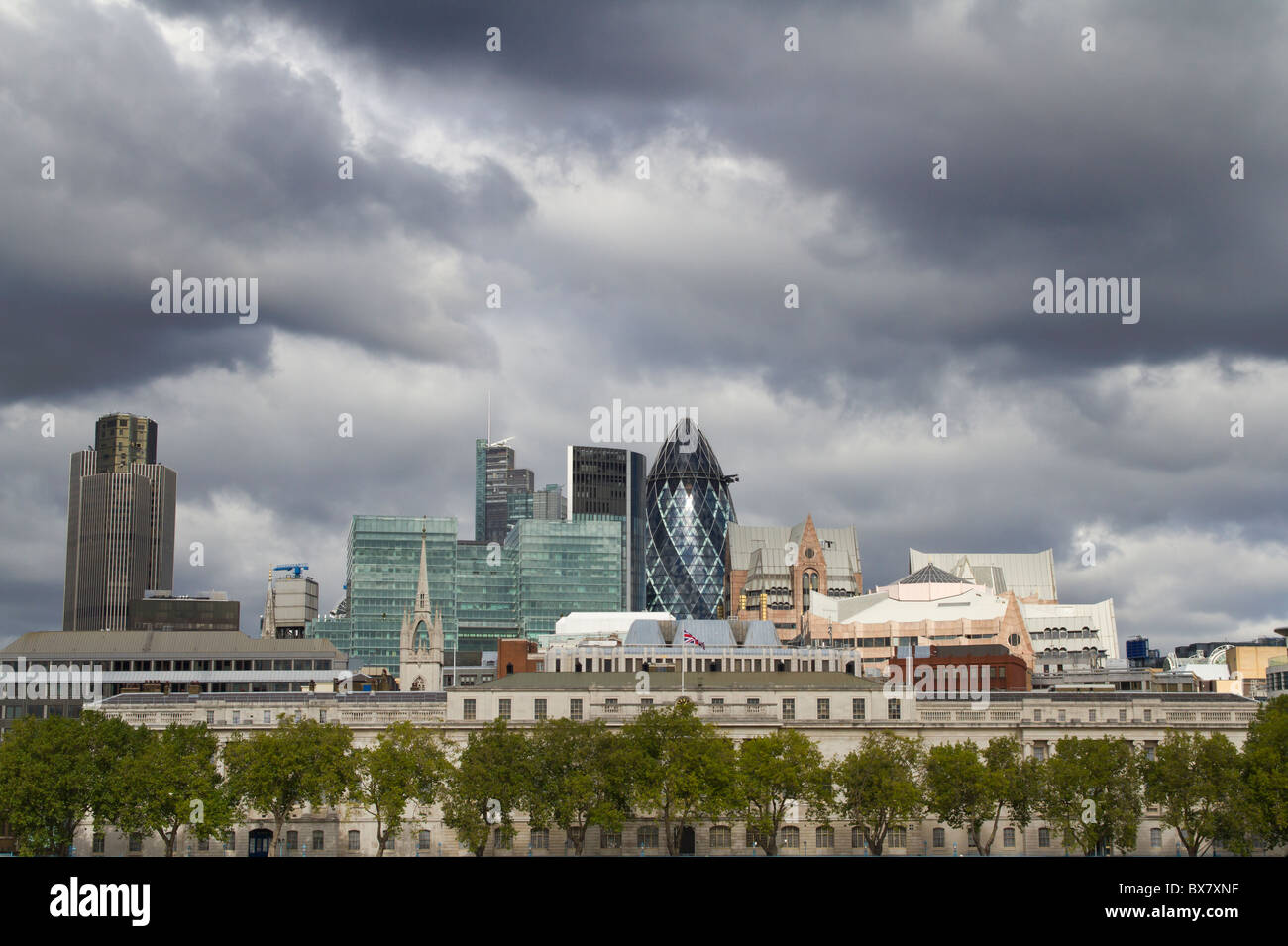 London Cityscape with dark clouds above - Stock Image