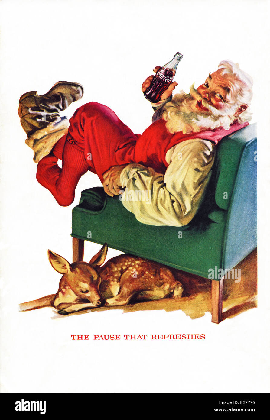 Classic Coca Cola advert in American magazine featuring colour illustration of Santa Father Christmas dated December1958 - Stock Image