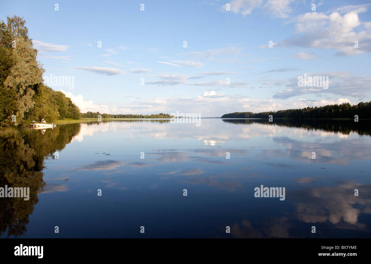 View of Lake Suontee Finland at Summer evening , Finland Stock Photo