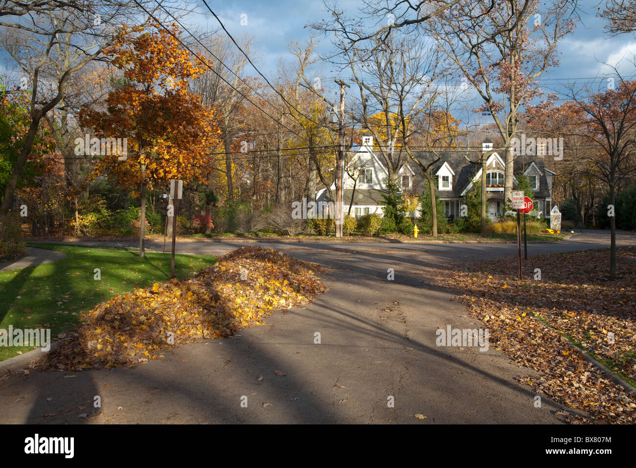 Old Green Bay road in the Chicago suburbs at Hubbard Woods near Winnetka Illinois in Autumn Fall - Stock Image