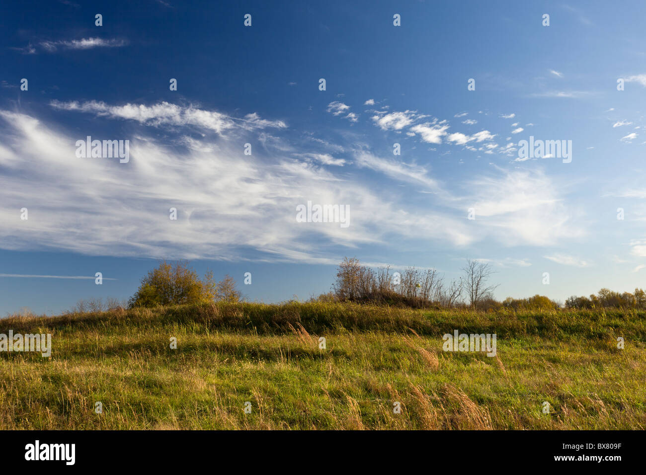 Native American earthen mounds at Spiro Mounds Archeological Site in Oklahoma, USA. - Stock Image
