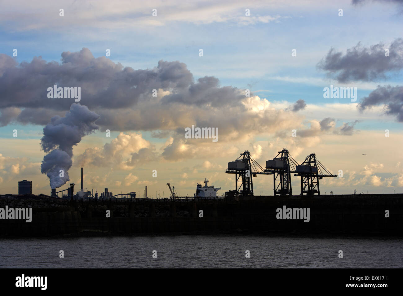 Cranes and Steelworks, Port Talbot, South Wales, UK - Stock Image