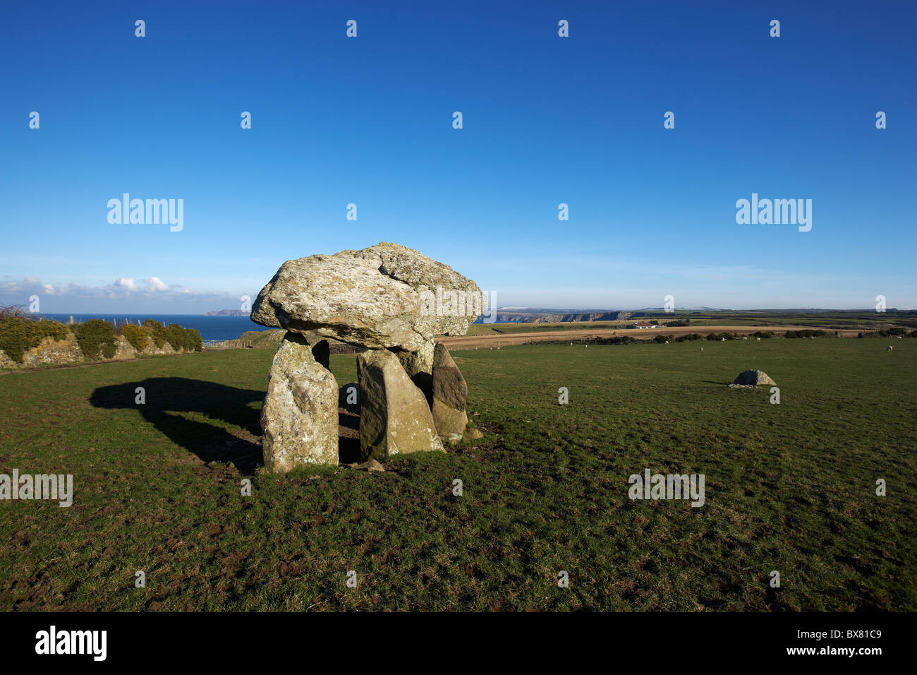 Carreg Samson, Neolithic Burial Chamber, Abercastle, Pembrokeshire, West Wales, UK - Stock Image