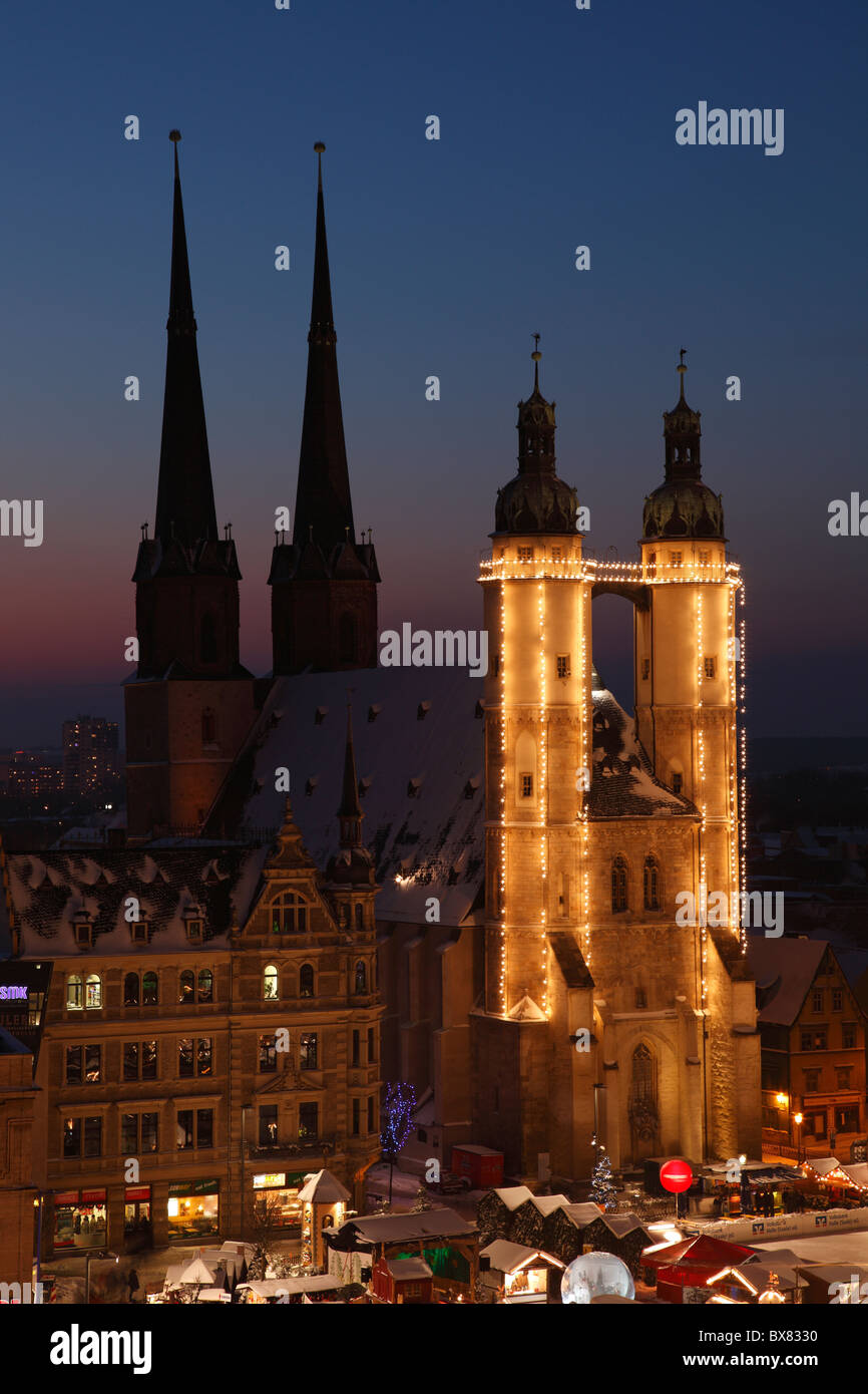 Market church in Halle (Saale) at Christmas time; Marktkirche in Halle - Stock Image
