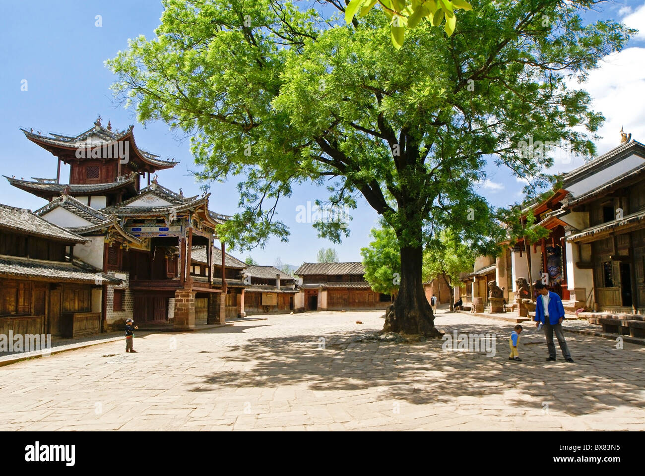 Three Terraced Pavilion on Sideng Street, Shaxi, Jiangsu, China Stock Photo