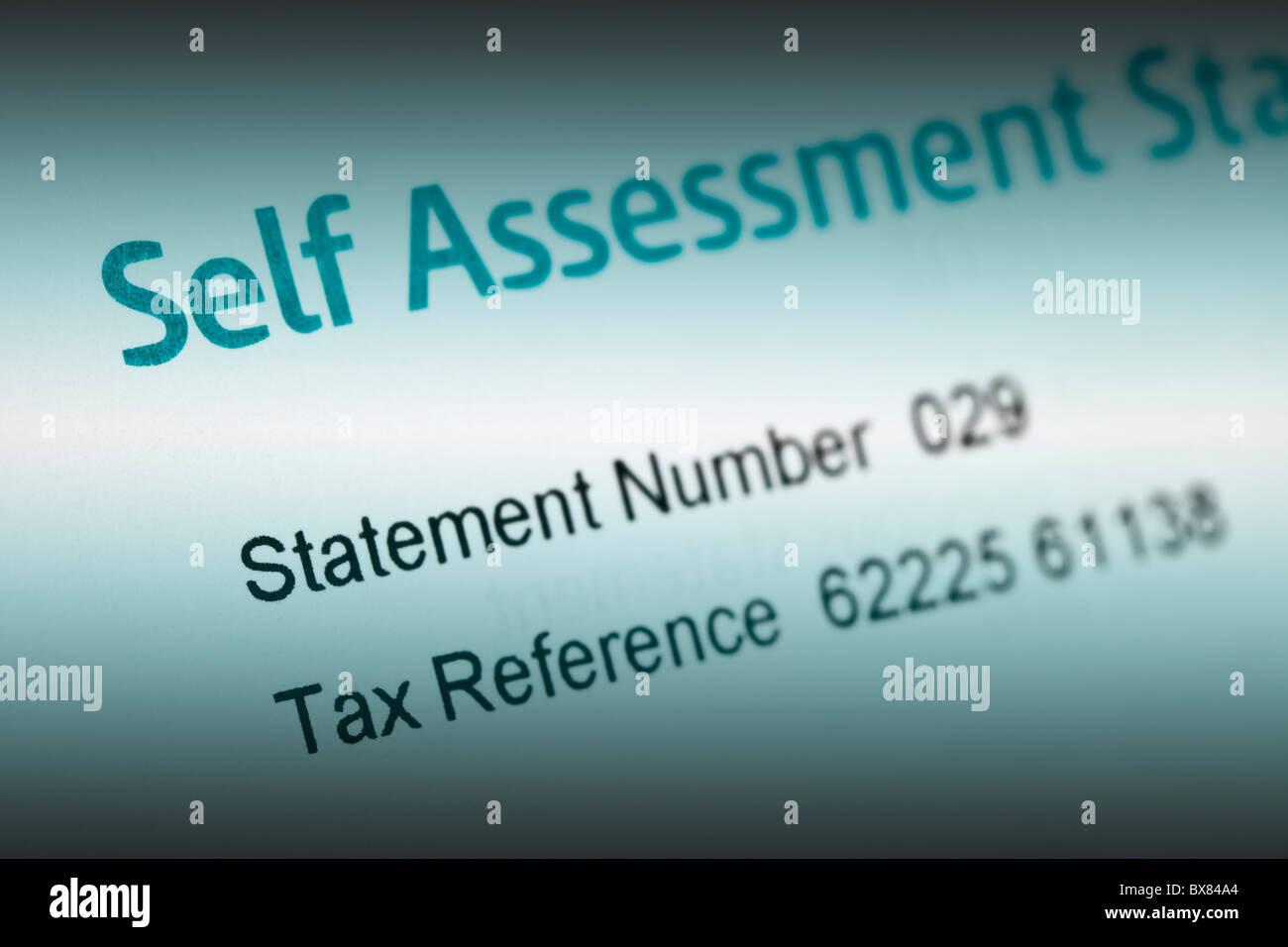 UK tax hm revenue & customs self assessment statement - Stock Image