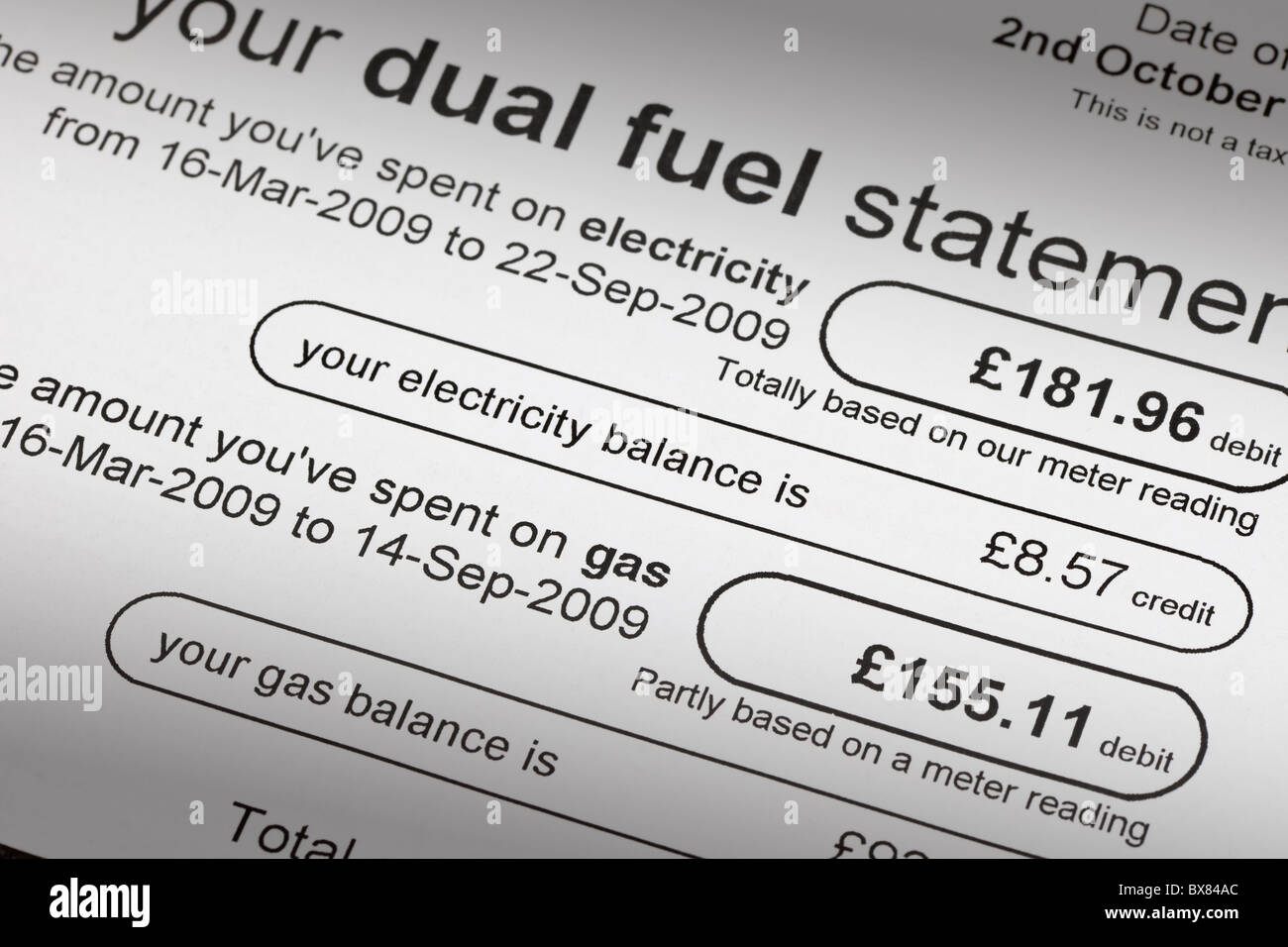 a uk gas and electricity bill - Stock Image